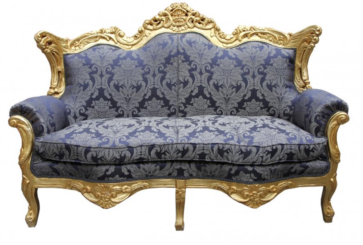 Casa Padrino Barock 2er Sofa Master Royal Blau Muster / Gold 2Mod ...
