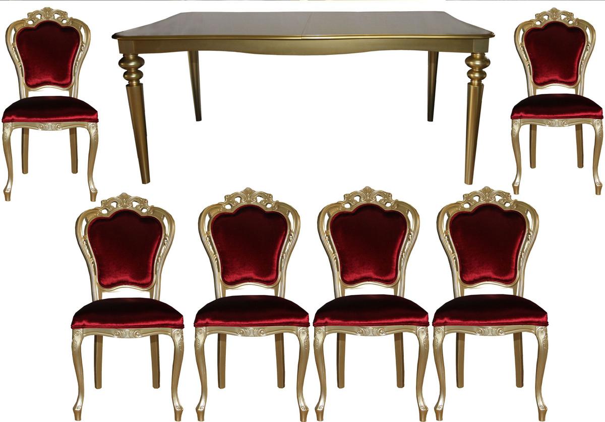 Casa Padrino Barock Luxus Esszimmer Set Bordeaux/Gold - Esstisch + 6 ...