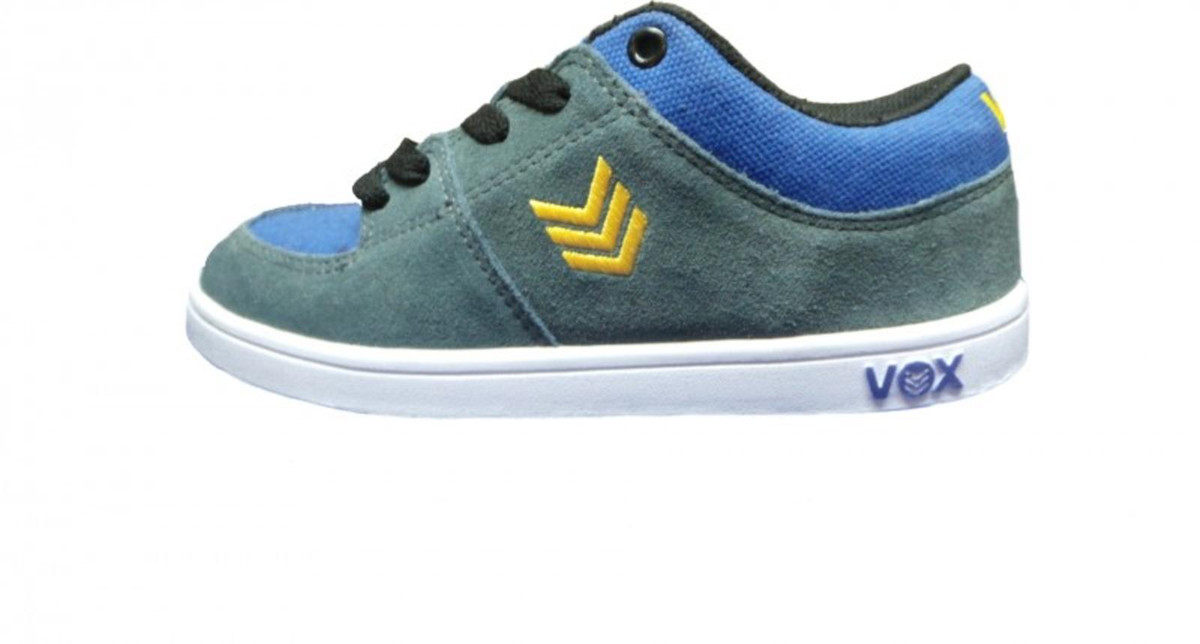 Vox Skateboard Schuhe Passport Kids Charcoal Blau Gelb