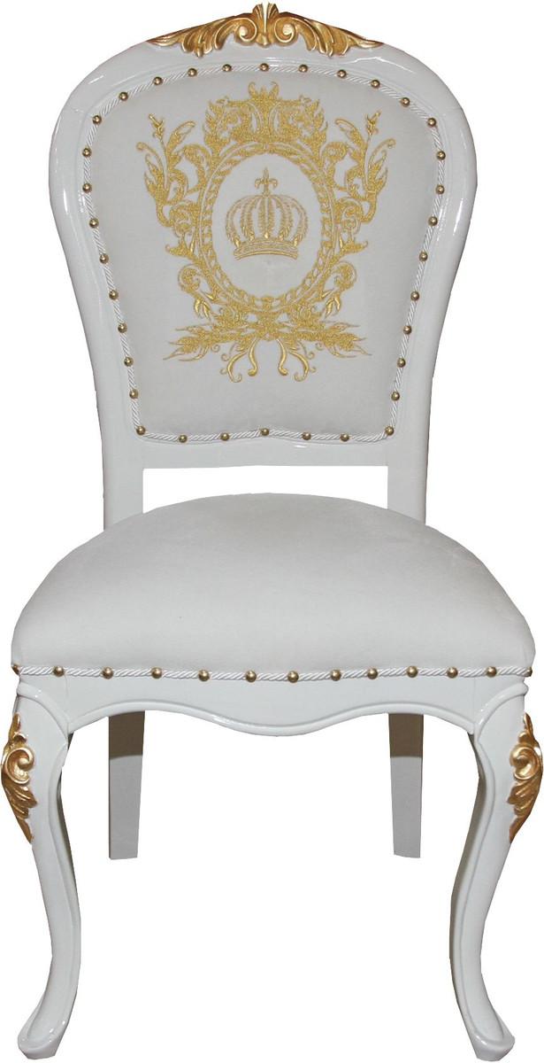 Pompöös by Casa Padrino Luxus Barock Esszimmer Stuhl Weiss Gold mit Krone Pompööser Barock