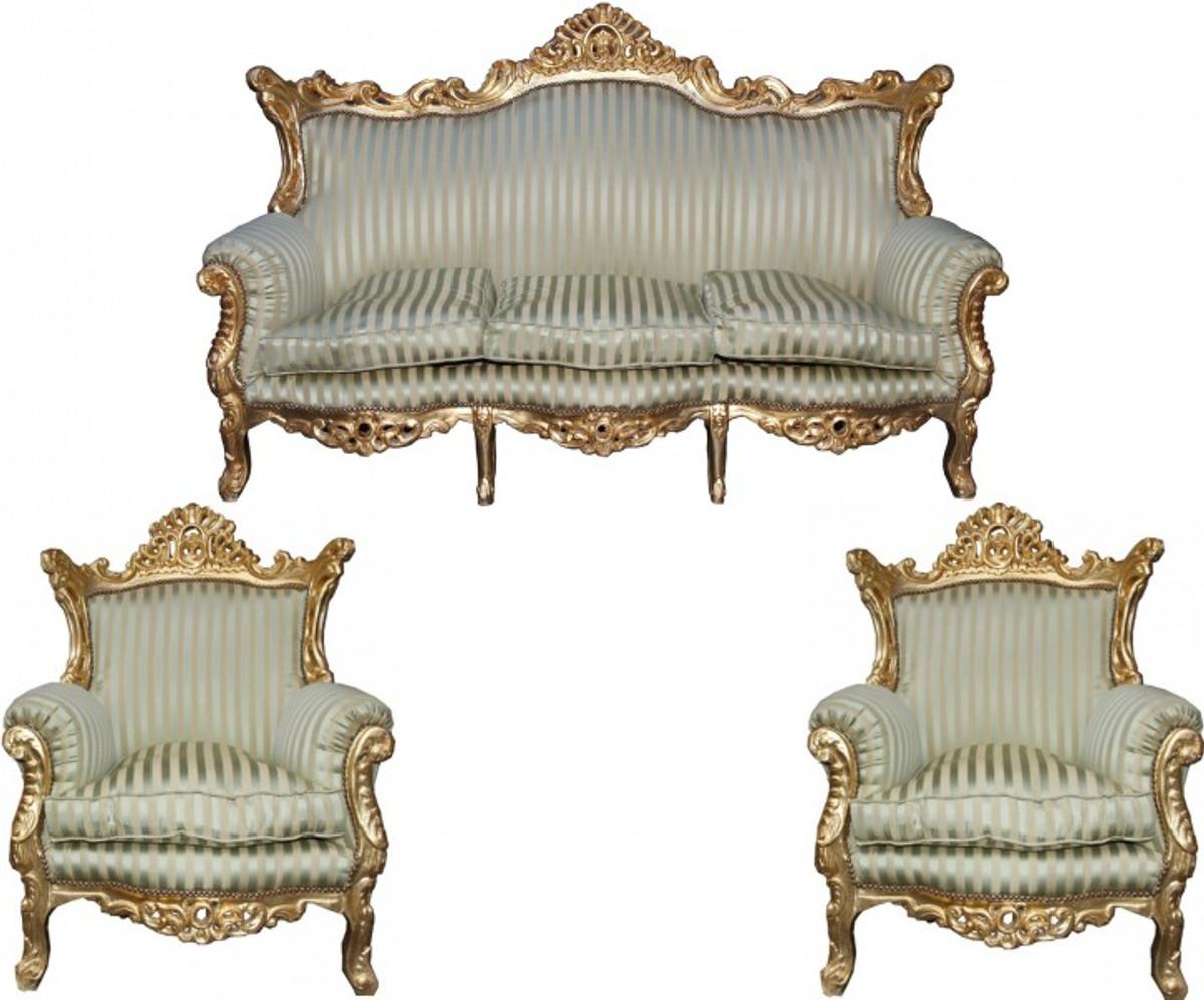 Wunderbar Casa Padrino Barock Wohnzimmer Set Master Jadegrün /Beige / Gold Mod2    3 Er ...