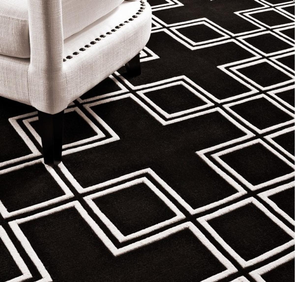 ... Wunderschöner Luxus Teppich Aus 100% Neuseeland Wolle Mit Mäander  Muster, Schwarz / Weiss
