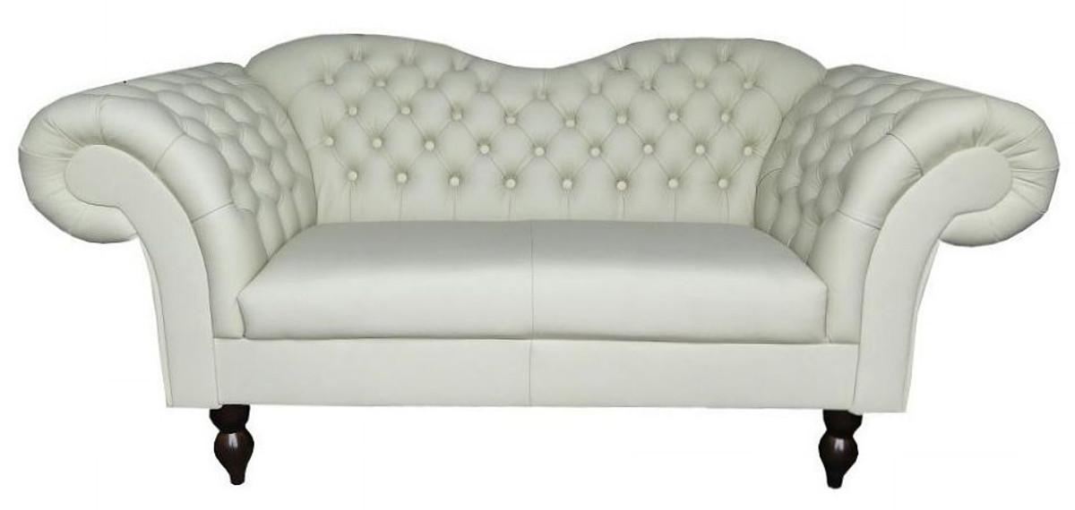 Casa Padrino Chesterfield 2er Sofa Venedig Echt Leder Weiss