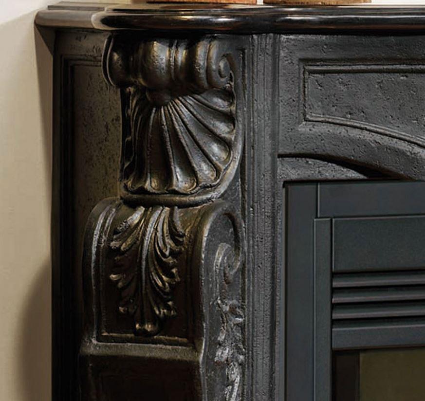 casa padrino barock stein kamin schwarz mit elektroeinsatz elektrokamin wohnzimmer antik stil jugendstil kamin - Jugendstil Wohnzimmer