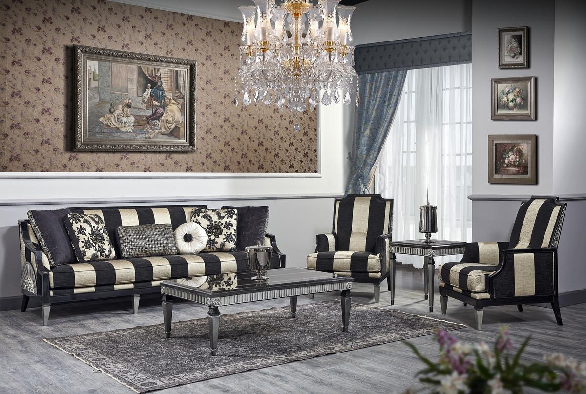 Hervorragend Casa Padrino Luxus Barock Wohnzimmer Set Schwarz / Gold / Silber MD91