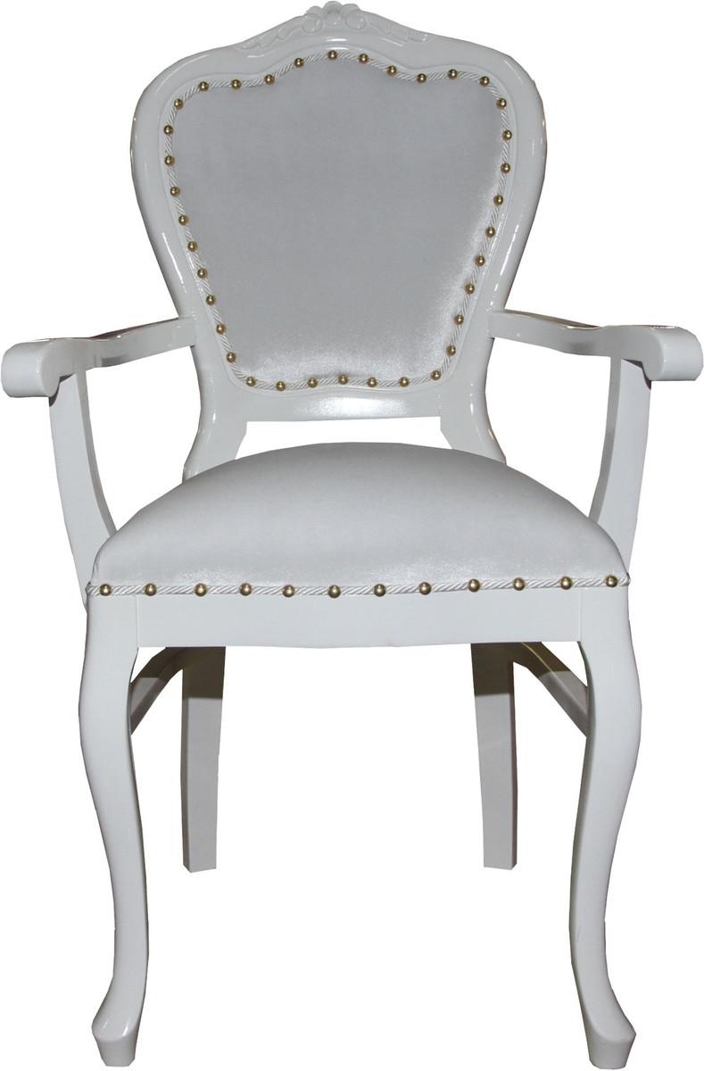 Casa Padrino Barock Luxus Damen Stuhl Mit Armlehnen Weiss Weiss
