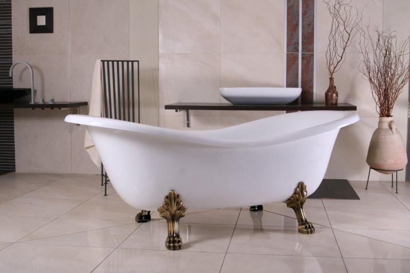 Freistehende Luxus Badewanne Jugendstil Paris Weiß/Altgold 1880mm   Barock  Badezimmer 1 ...