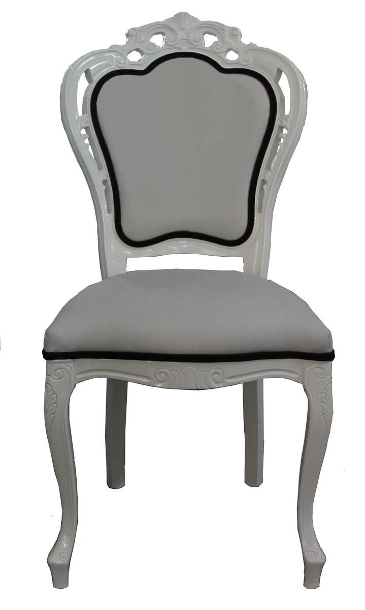 Casa Padrino Luxus Barock Esszimmer Stuhl In Weiß/Schwarz   Designer Stuhl    Luxus Qualität