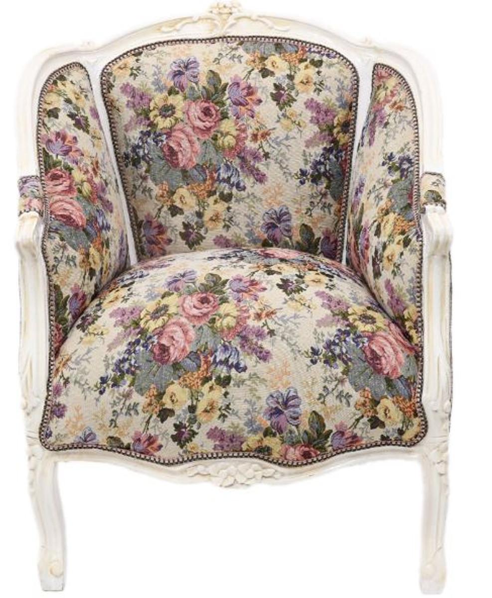 Casa Padrino Barock Lounge Sessel Weiss Blumenmuster 70 Cm X H