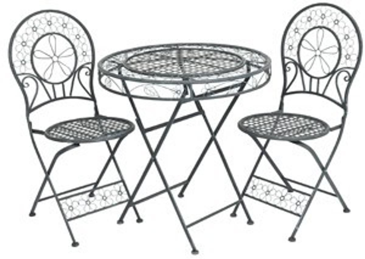 jugendstil gartenm bel set tisch mit 2 st hlen hellgraues. Black Bedroom Furniture Sets. Home Design Ideas