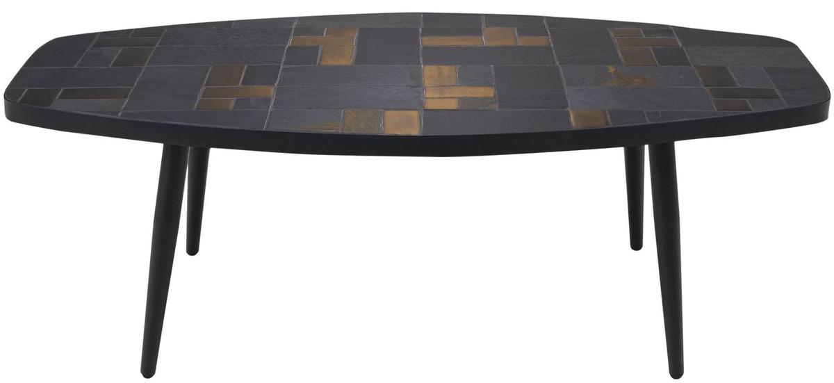 Casa Padrino Luxus Wohnzimmertisch Mehrfarbig Schwarz 120 X 60 X H 40 Cm Couchtisch Mit Schieferplatten Keramik Fliesen