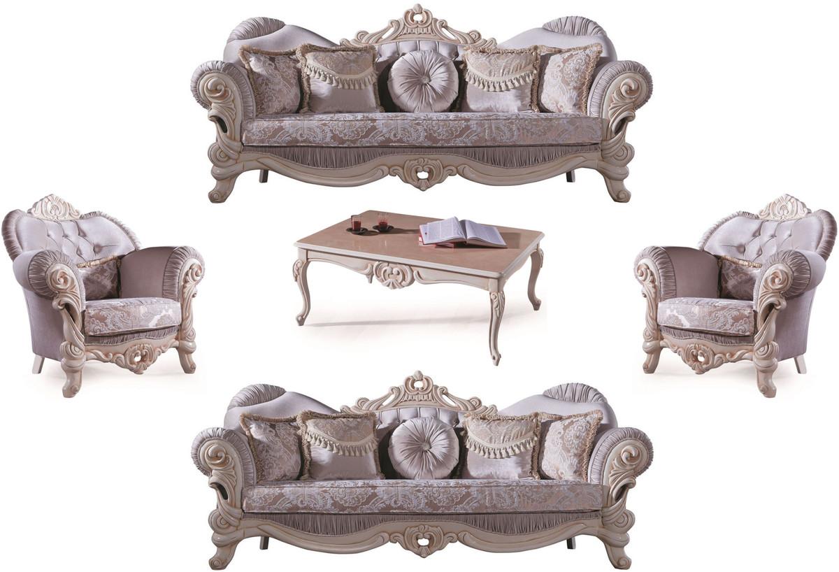 Casa Padrino Luxus Barock Wohnzimmer Set Flieder Creme Beige 2 Sofas 2 Sessel 1 Couchtisch Wohnzimmer Mobel Im Barockstil Edel Prunkvoll Kaufen Bei Demotex Gmbh