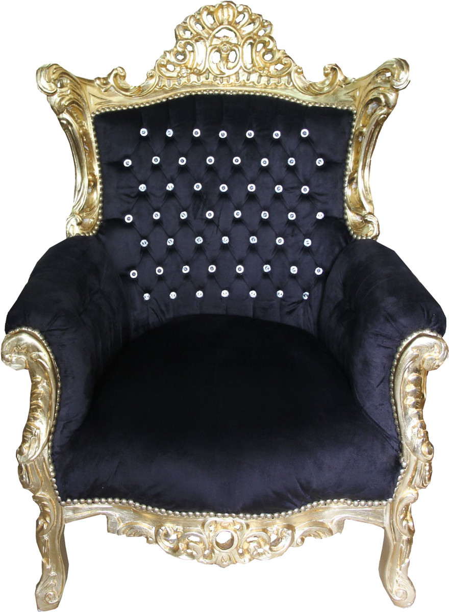 Casa Padrino Barock Sessel Al Capone Schwarz / Gold mit Bling Bling  Glitzersteinen - Limited Edition - yatego.com