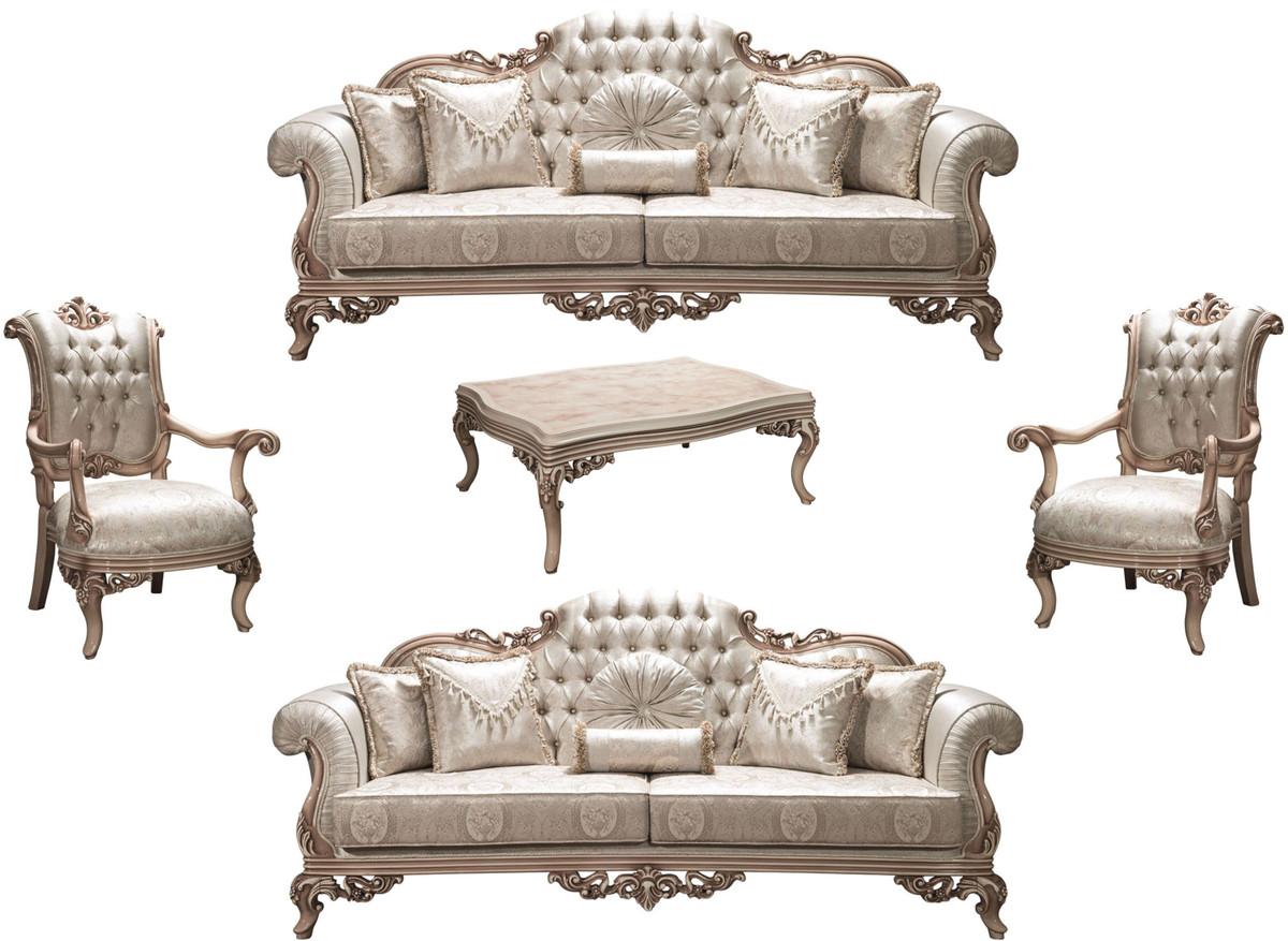 Casa Padrino Luxus Barock Wohnzimmer Set Silber Creme Beige 2 Sofas 2 Sessel 1 Couchtisch Prunkvolle Wohnzimmermobel Im Barockstil Kaufen Bei Demotex Gmbh