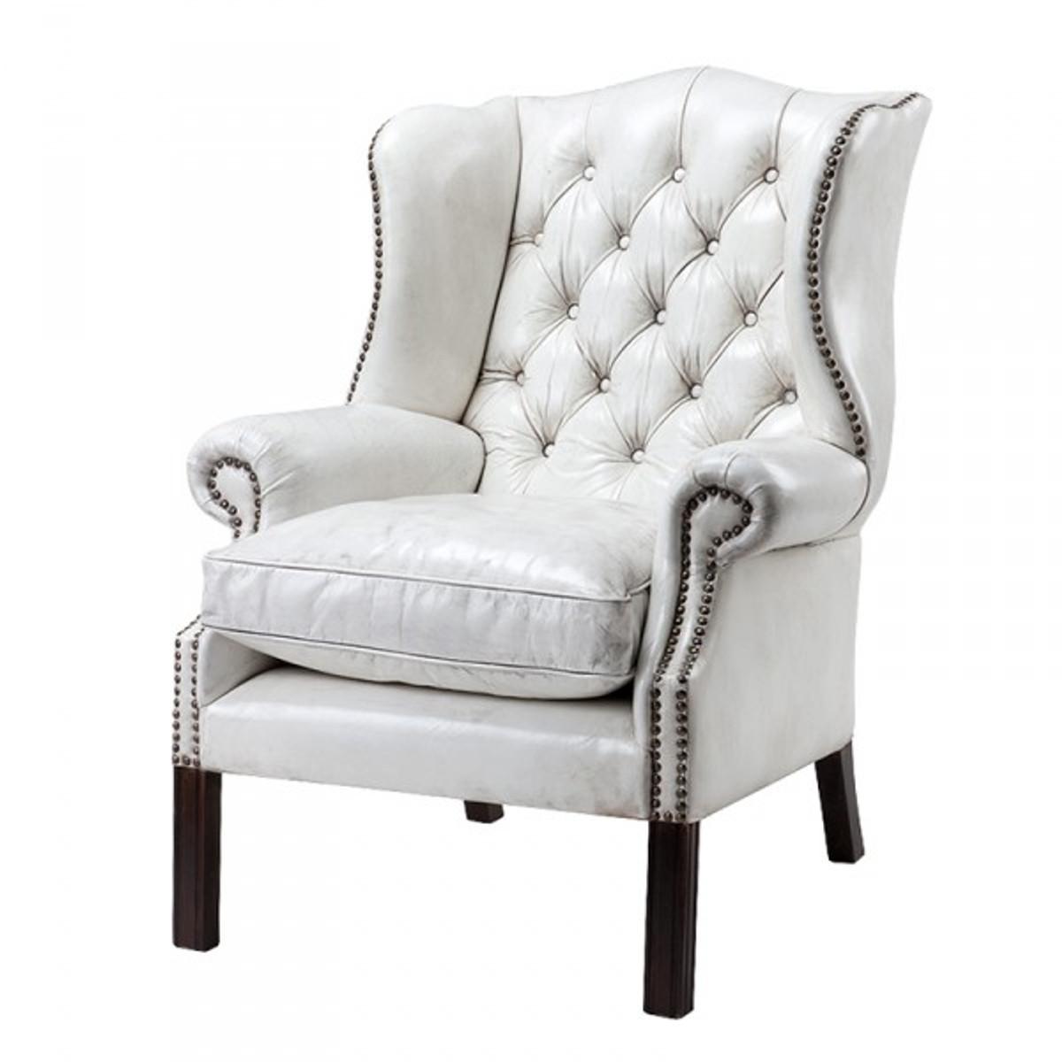Luxus Echtleder Ohrensessel Chesterfield Vintage Weiß Sessel Mit