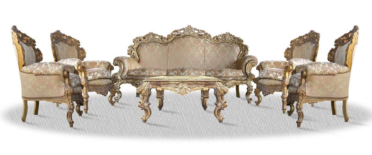 Casa Padrino Barock Sofa Set 3er Sofa 4 Sessel und Tisch mit ...
