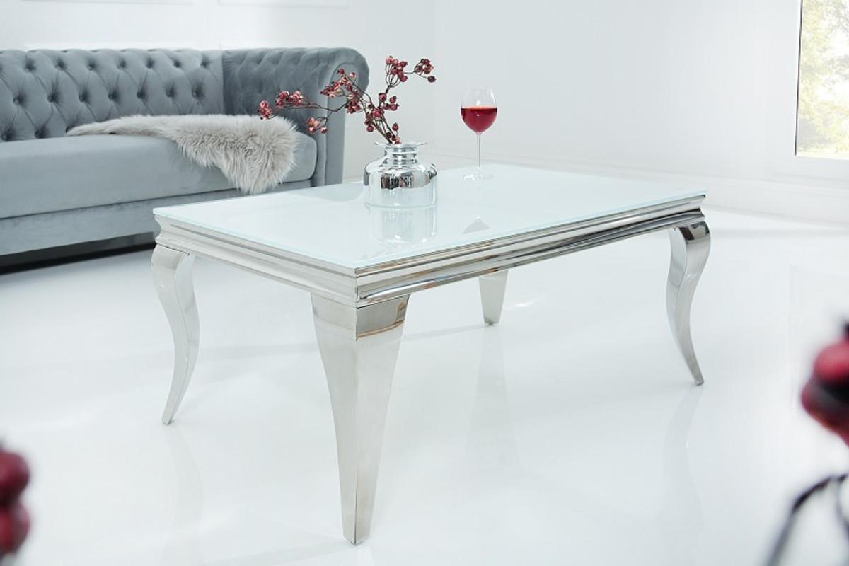 Casa Padrino Luxus Couchtisch 100 Cm Weiss Silber Modern Barock