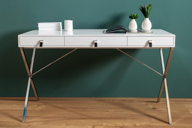 Casa Padrino Schreibtisch Weiss / Silber 120cm mit 2 Schubladen ...