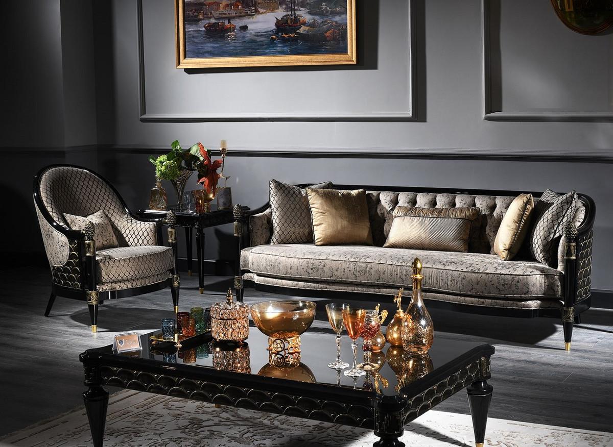Favorit Casa Padrino Luxus Barock Wohnzimmer Set Silbergrau / Schwarz GZ08