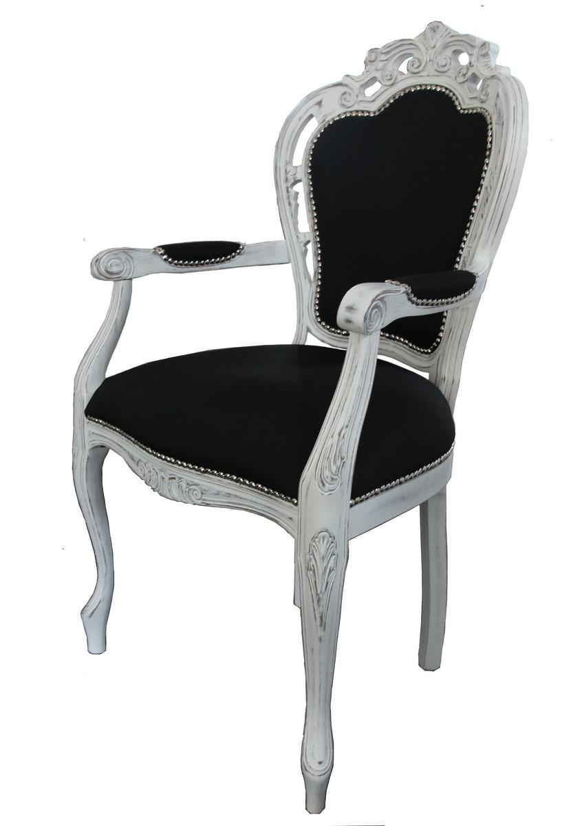 Casa Padrino Barock Esszimmer Stuhl Mit Armlehne Schwarz