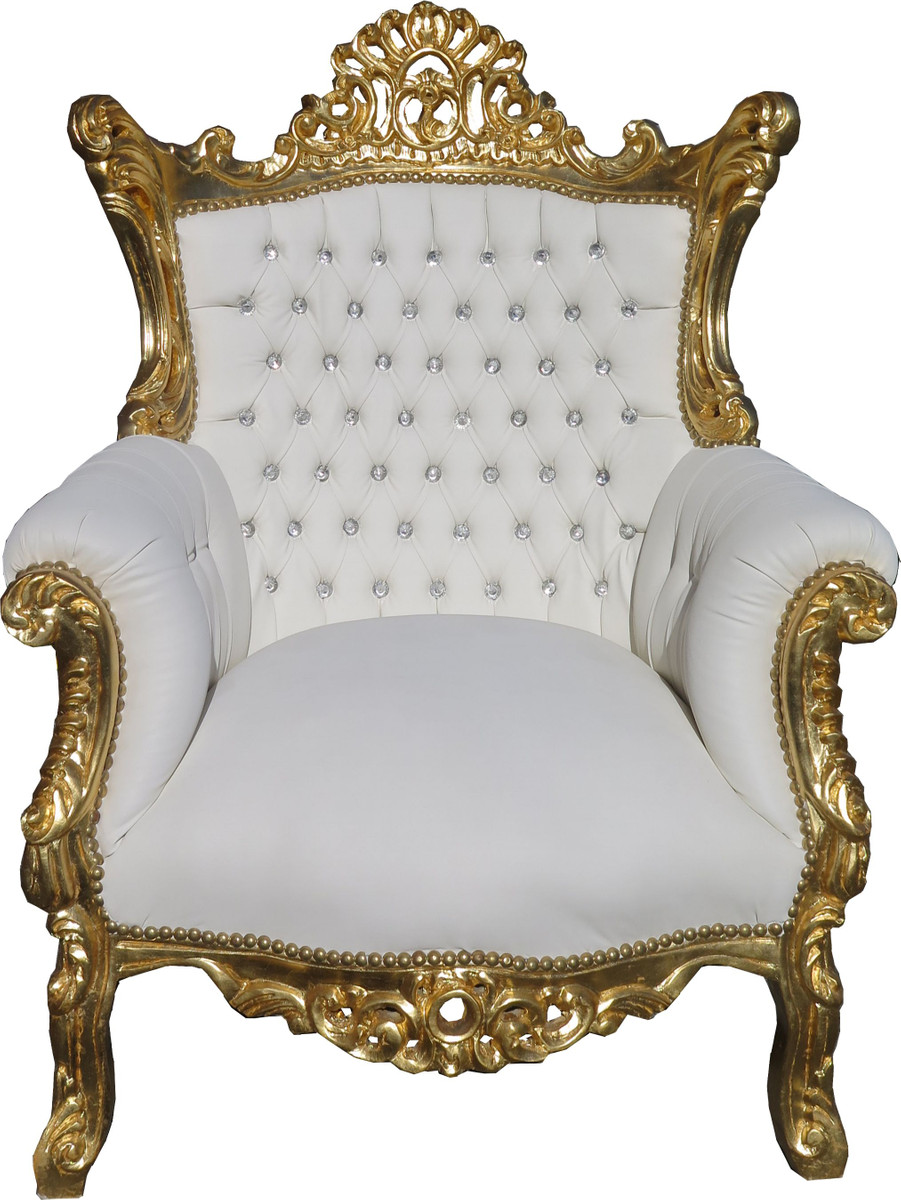 Casa Padrino Barock Sessel Al Capone Weiß Gold mit Bling