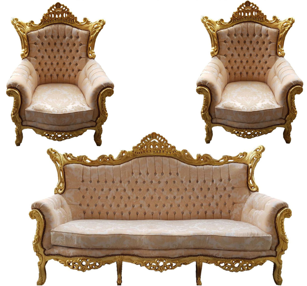 Casa Padrino Barock Wohnzimmer Set Master Creme Muster Gold Mit