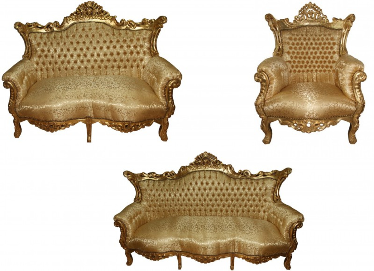 Casa Padrino Barock Wohnzimmer Set Master Gold Muster/ Gold   3er Sofa+2er  Sofa ...