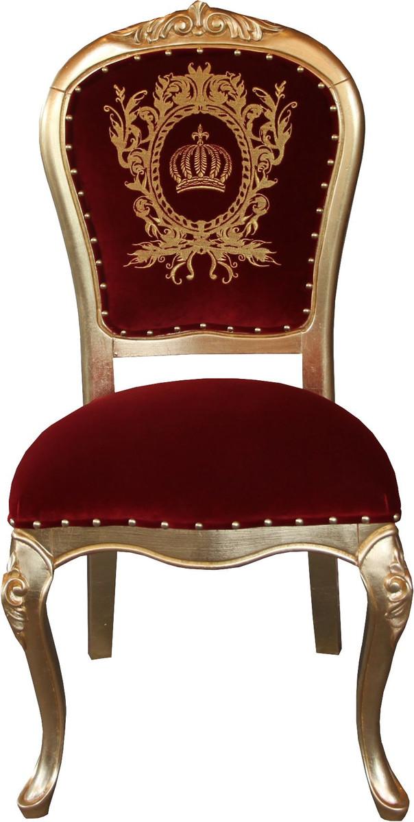 Pompoos By Casa Padrino Luxus Barock Esszimmer Stuhl Bordeaux Gold Mit Krone Pompooser Barock Stuhl Designed By Harald Gloockler