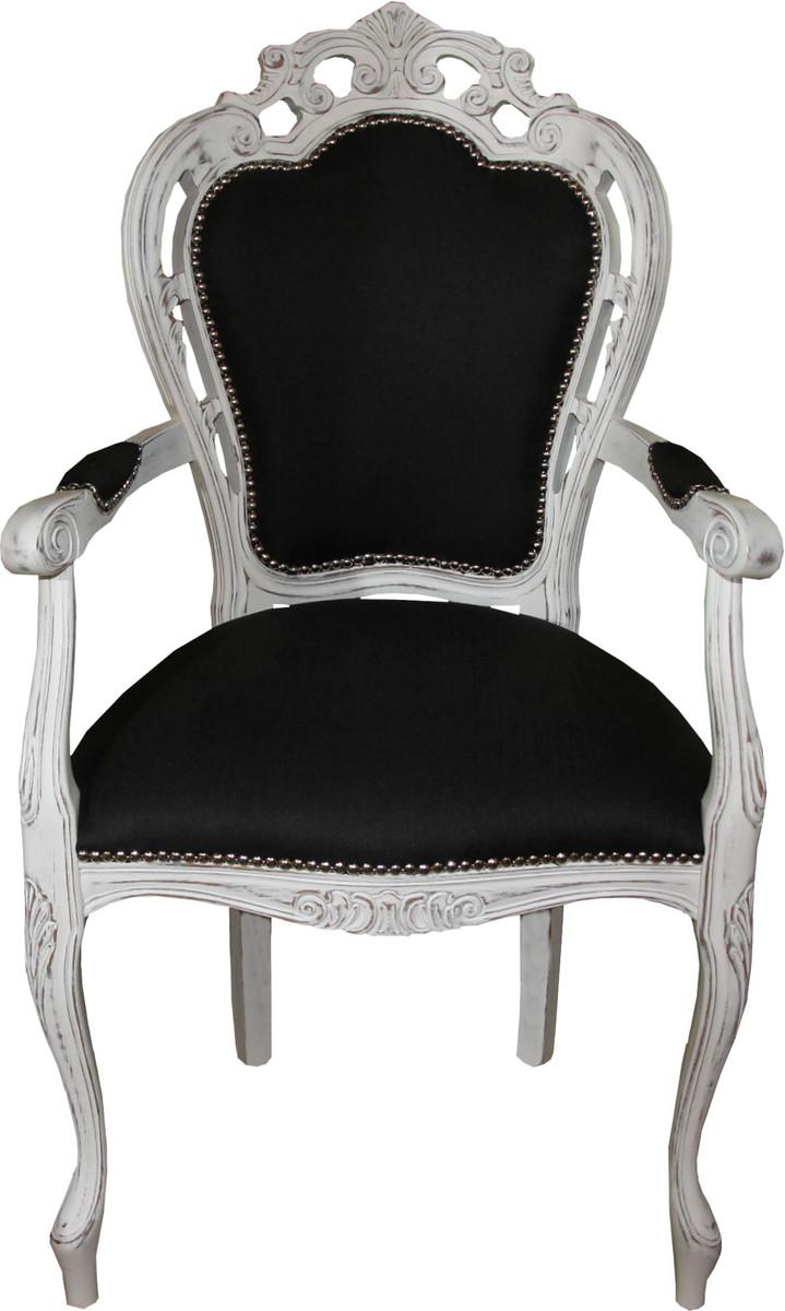 casa padrino barock esszimmer stuhl mit armlehnen schwarz. Black Bedroom Furniture Sets. Home Design Ideas