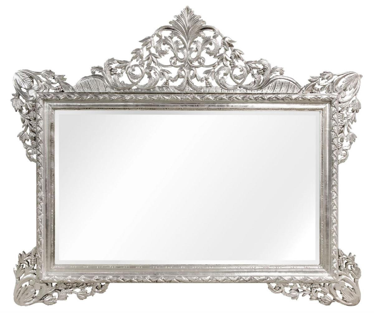Casa Padrino Barock Wandspiegel Silber 7 x H. 7 cm - Wohnzimmer Spiegel  im Barockstil
