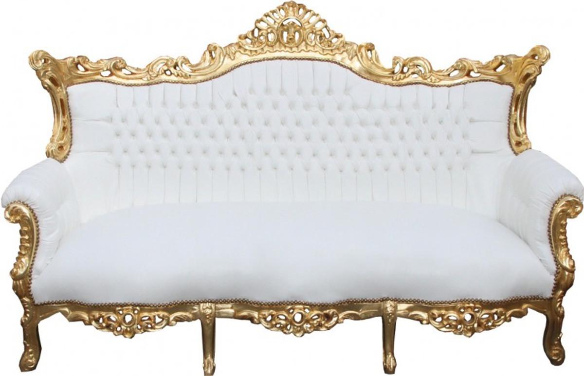 Casa Padrino Barock 3-er Sofa Master Weiss/Gold - Antik Möbel ...