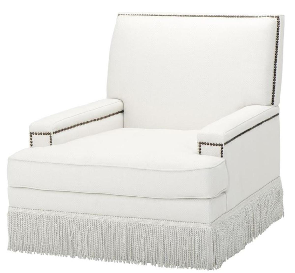Casa Padrino Luxus Designer Sessel Weiß 90 x 102 x H 90