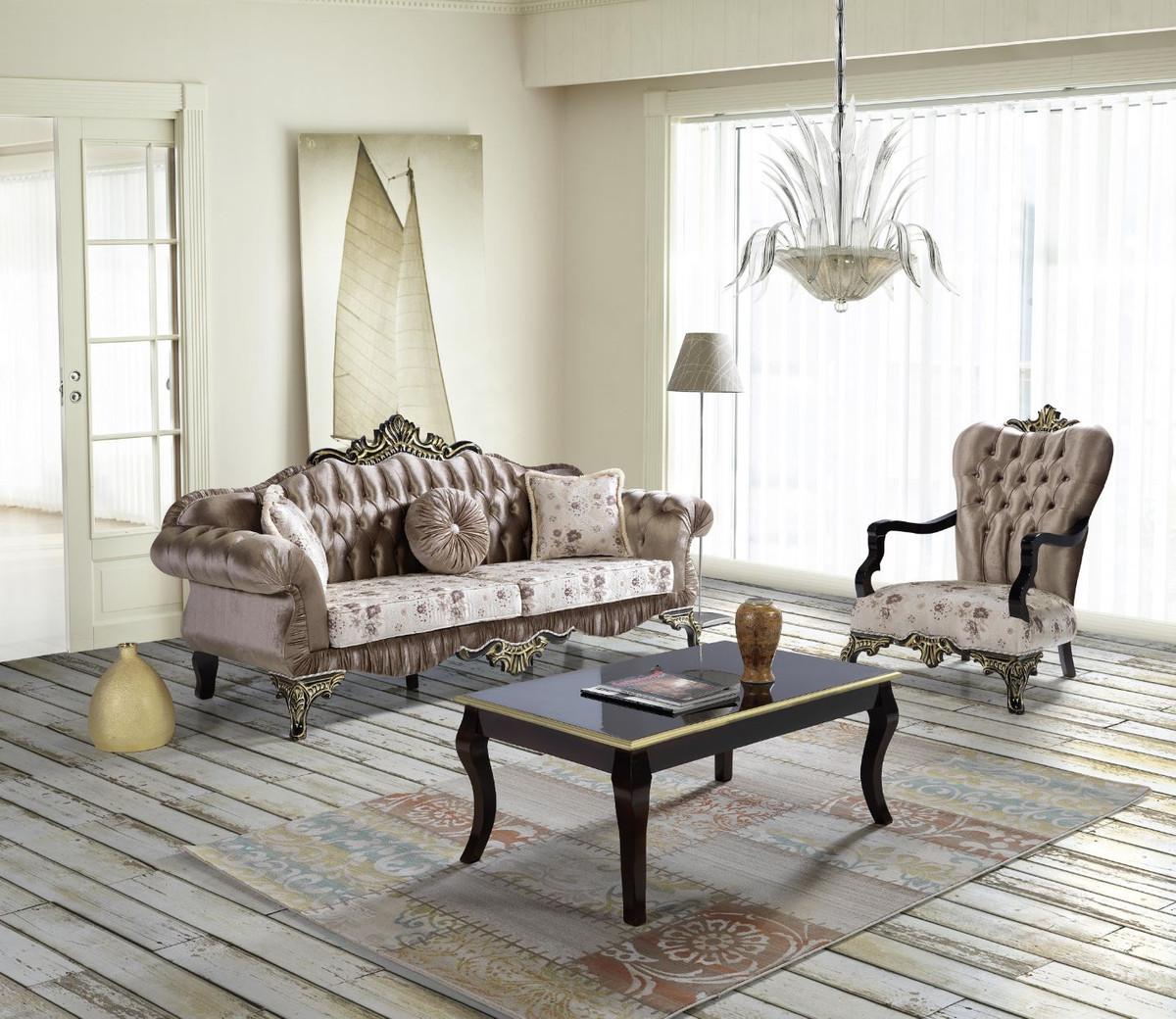 Casa Padrino Barock Wohnzimmer Set Braun Beige Schwarz Gold 2 Sofas 2 Sessel 1 Couchtisch Barock Wohnzimmer Mobel Kaufen Bei Demotex Gmbh