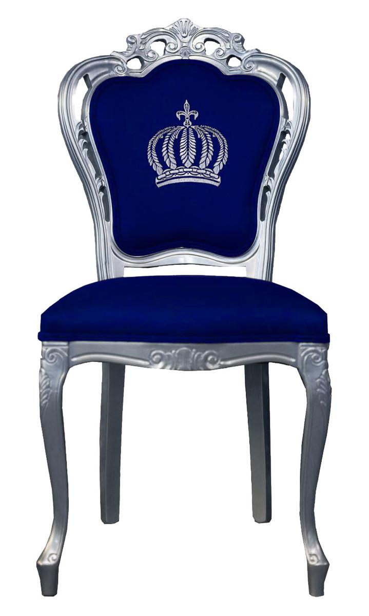 Pompoos By Casa Padrino Luxus Barock Esszimmerstuhl Blau Silber