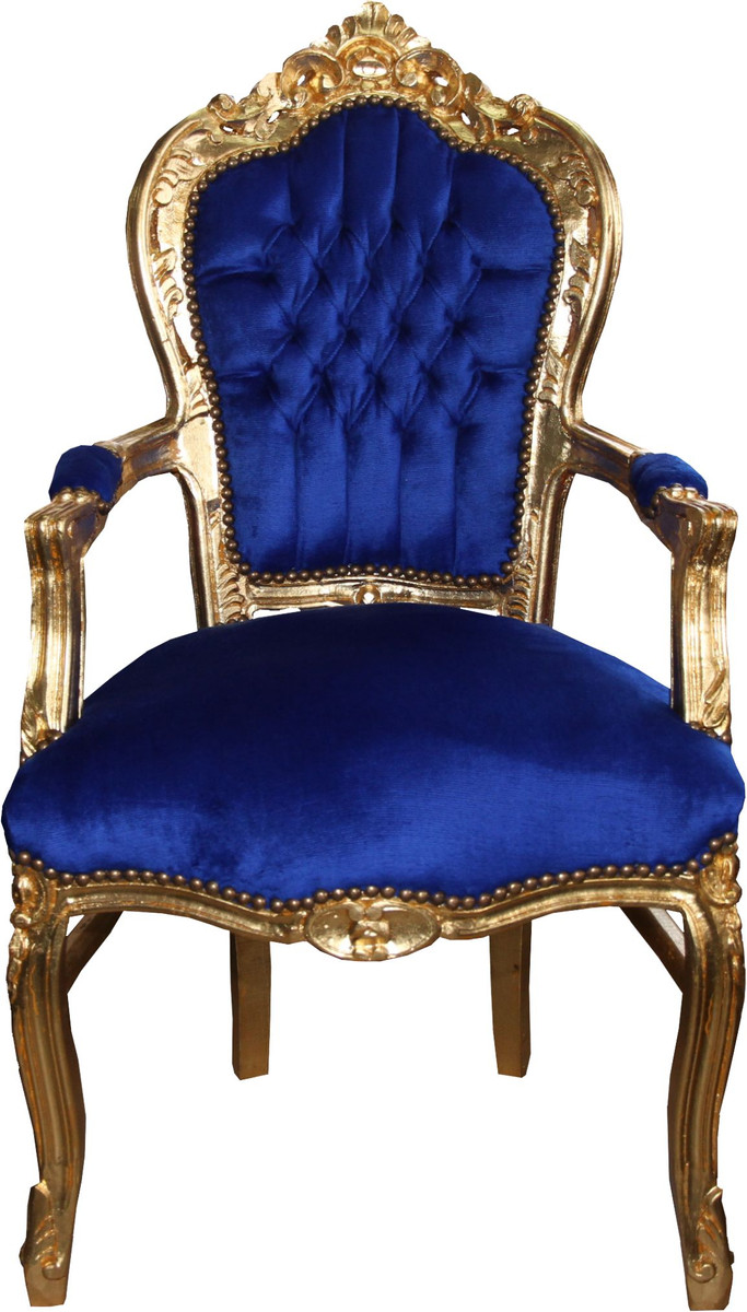 Casa Padrino Barock Esszimmerstuhl Blau Gold mit