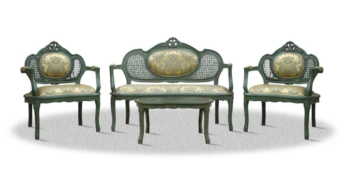 Casa Padrino Barock Salon Set mit Sitzbank 2 Stühlen und