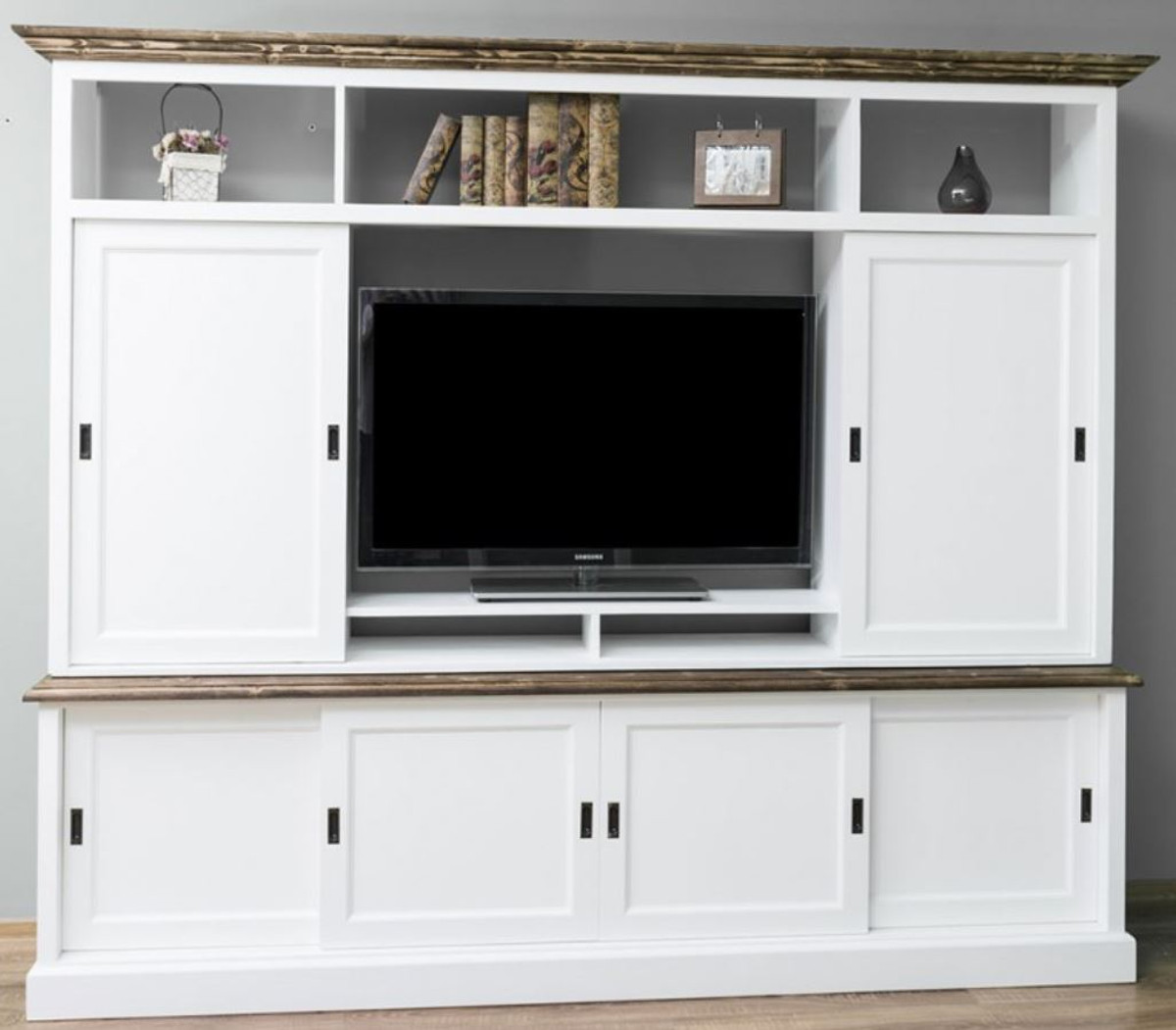 Casa Padrino Landhausstil Fernsehschrank mit 5 Schiebetüren Weiß / Braun  5 x 45 x H. 5 cm - Massivholz TV Schrank - Wohnzimmerschrank -