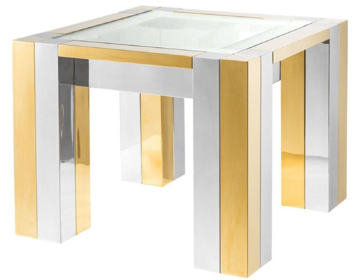 Casa Padrino Luxus Edelstahl Beistelltisch Silber Gold 65 X 65 X H