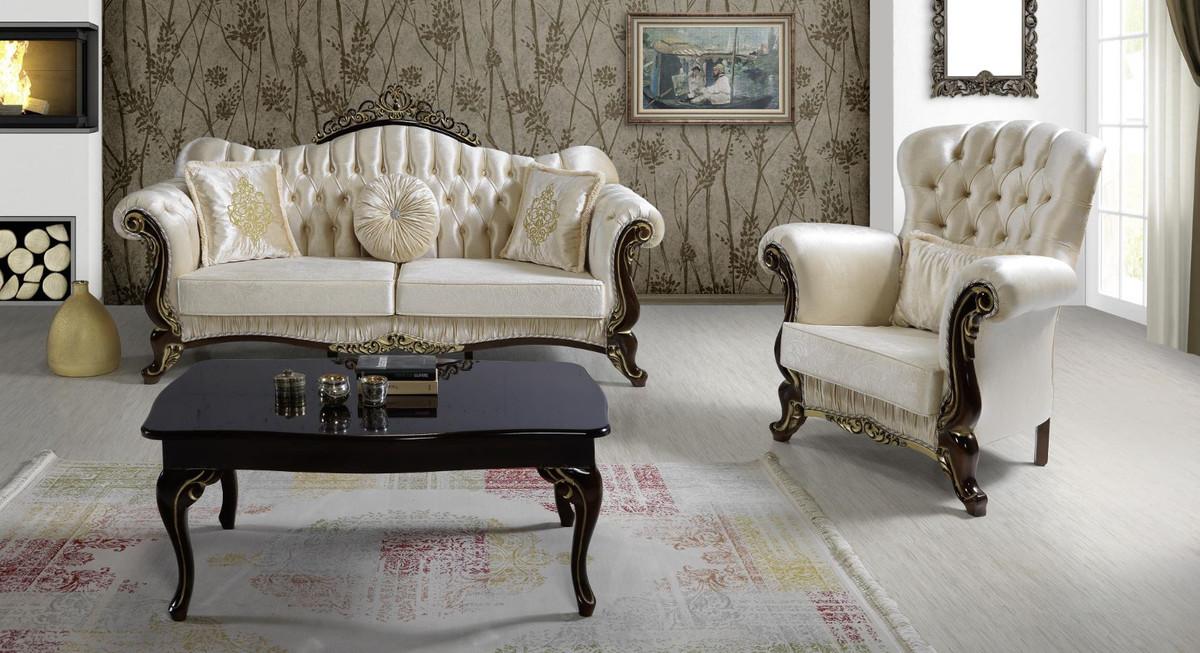 Casa Padrino Barock Wohnzimmer Set Champagnerfarben Schwarz Gold 2 Sofas 2 Sessel 1 Couchtisch Wohnzimmer Mobel Edel Prunkvoll Kaufen Bei Demotex Gmbh