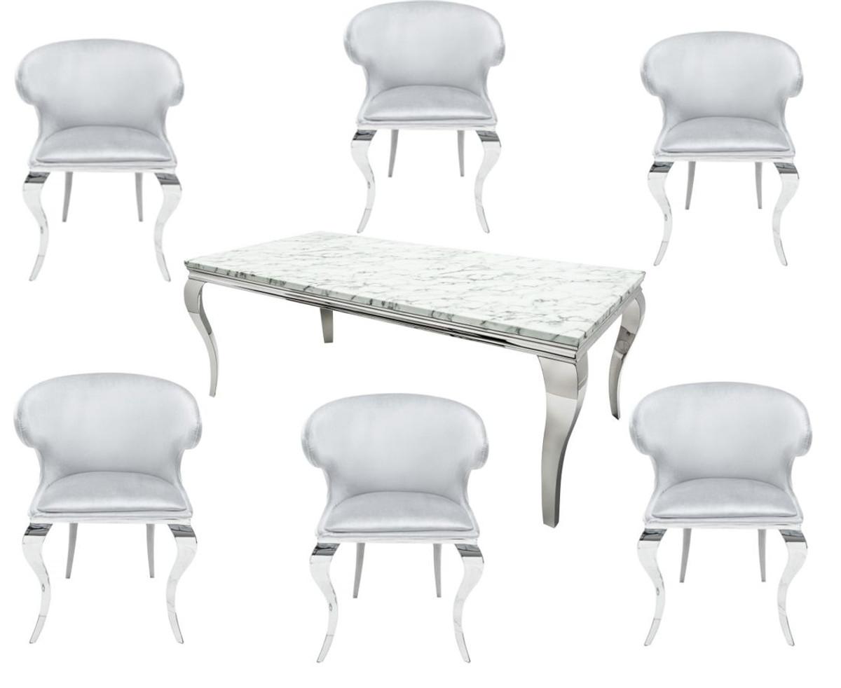 Casa Padrino Designer Esszimmer Set Silber Weiss Esstisch 180 Cm
