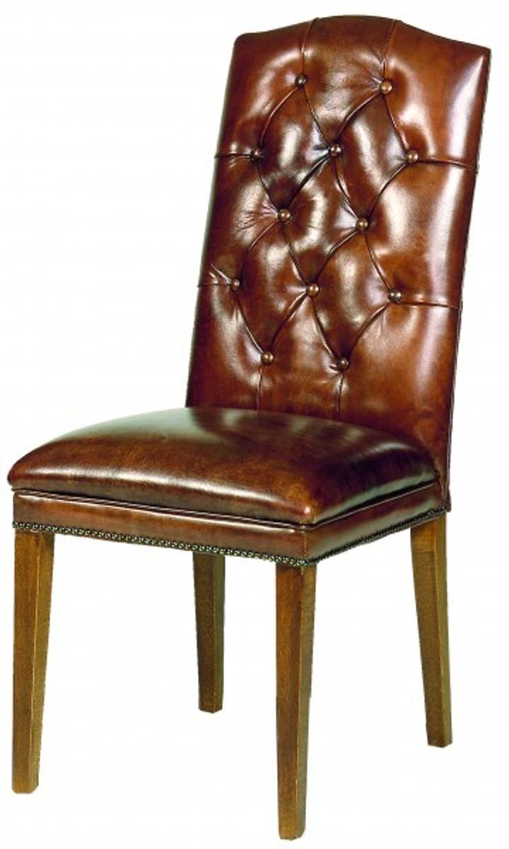 Casa Padrino Designer Chesterfield Esszimmer Stuhl Modef 266 Braun