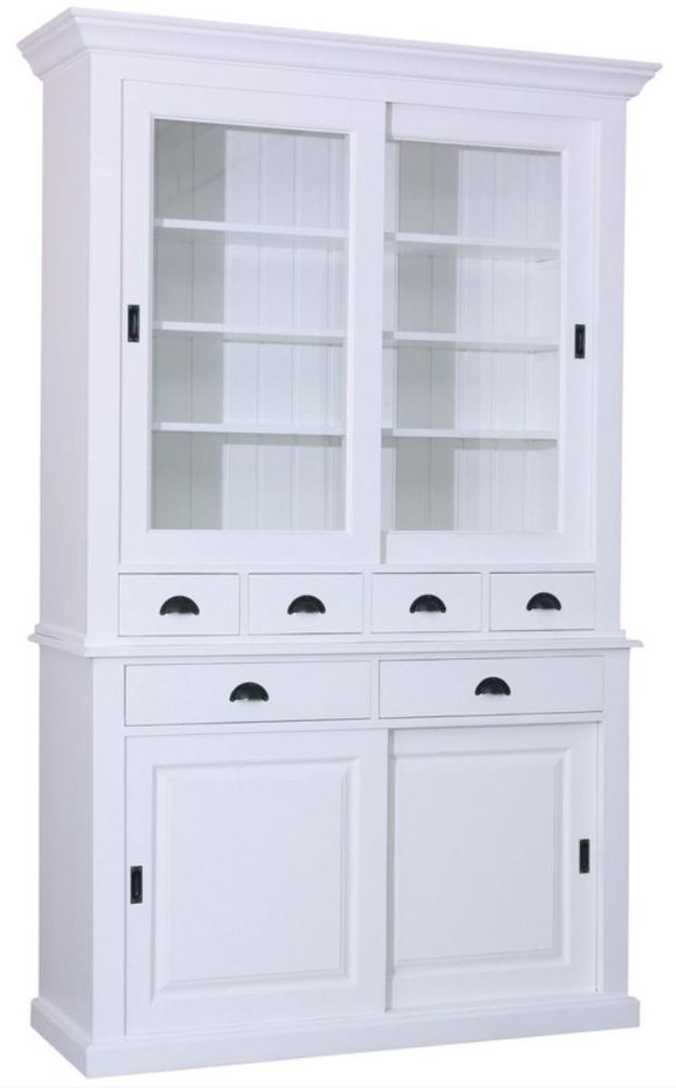 Casa Padrino Landhausstil Küchenschrank Weiß 142 x 48 x H. 225 cm - 2  Teiliger Küchenschrank mit 4 Schiebetüren und 6 Schubladen