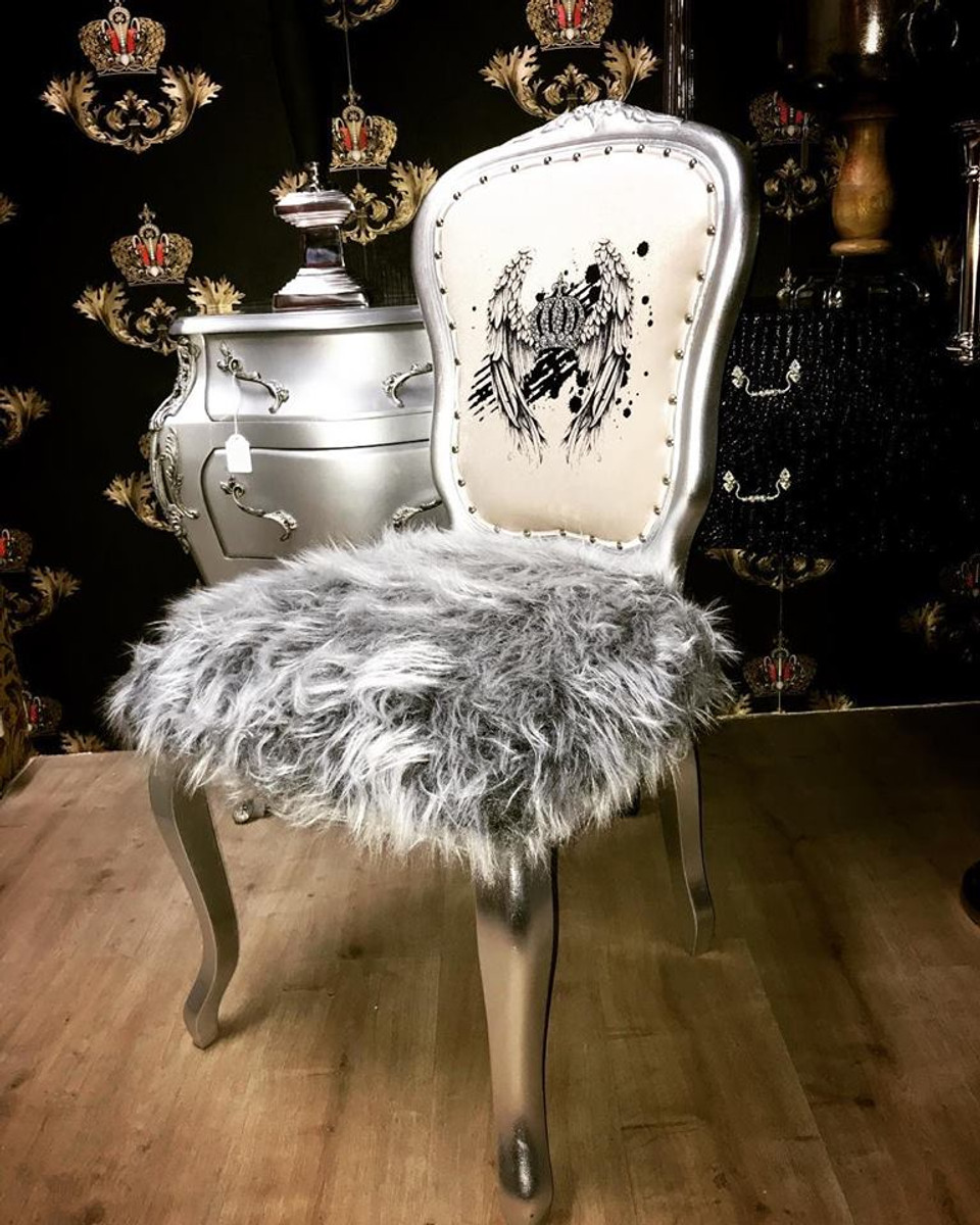 Pompoos By Casa Padrino Luxus Barock Esszimmer Stuhl Kunstfell