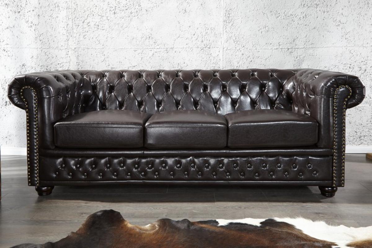 Casa Padrino Chesterfield 3er Sofa Dunkelbraun Wohnzimmer Couch