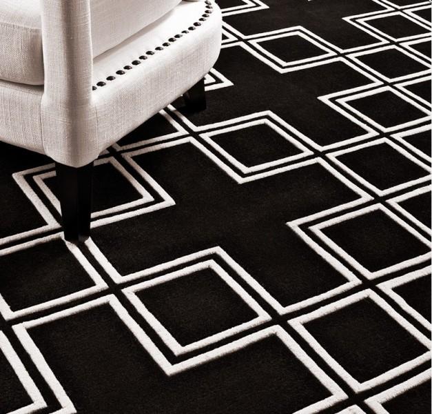 Wunderschoner Luxus Teppich Aus 100 Neuseeland Wolle Schwarz Weiss