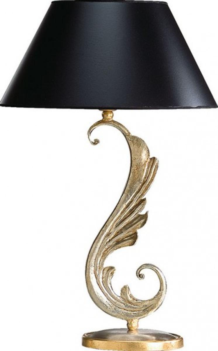 Casa Padrino Luxus Barock Tischleuchte Schwarz Gold Vergoldete