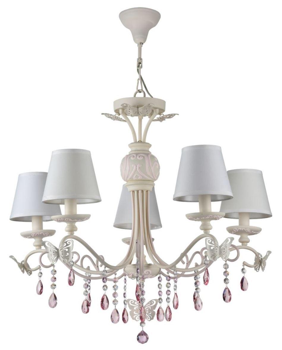 Casa Padrino Jugendstil Kristall Kronleuchter 5-Flammig Creme / Rosa ...