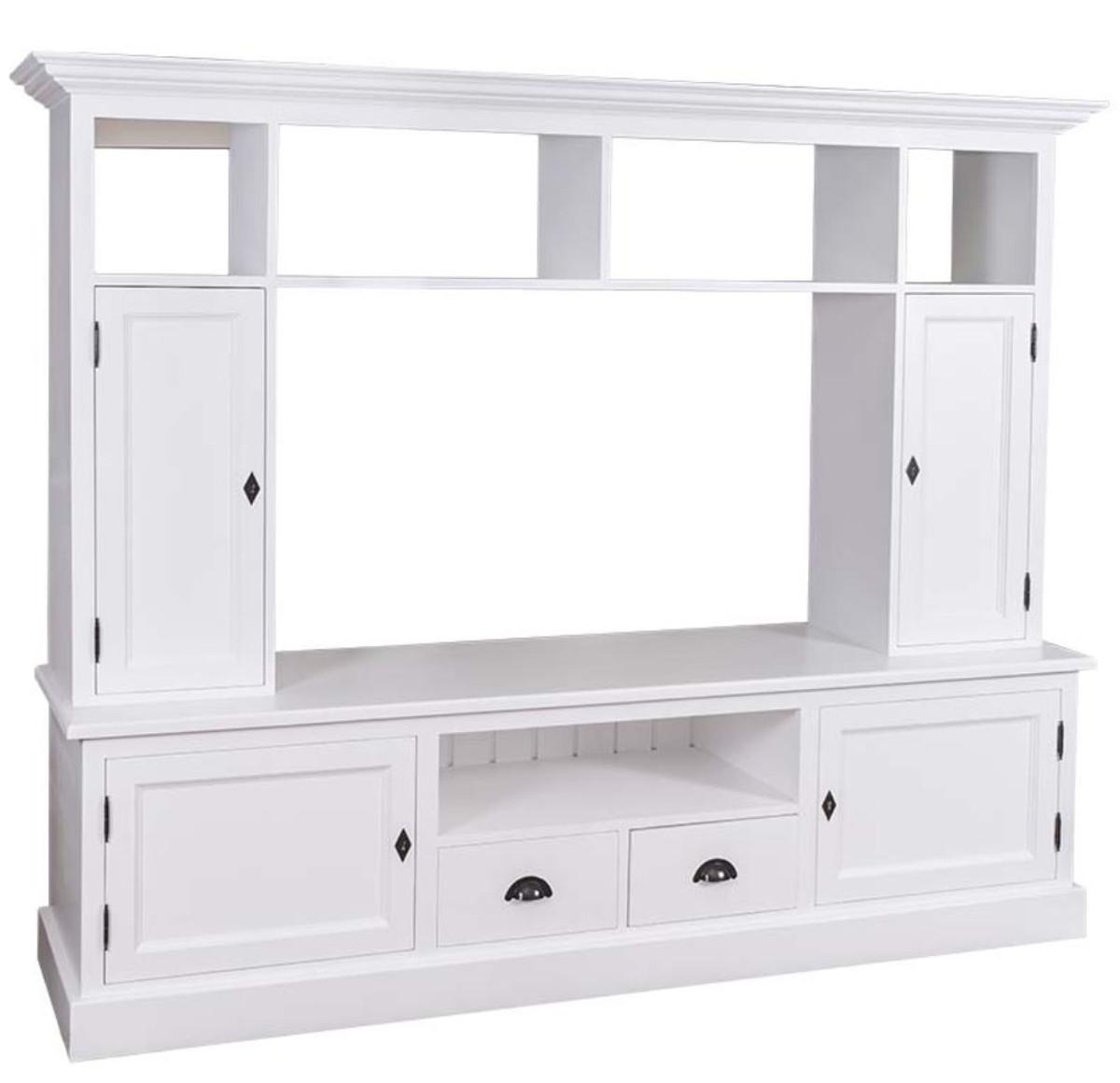 Casa Padrino Landhausstil Wohnzimmer Fernsehschrank Weiß 207 x 46 x H. 166  cm - Landhausstil Wohnzimmermöbel