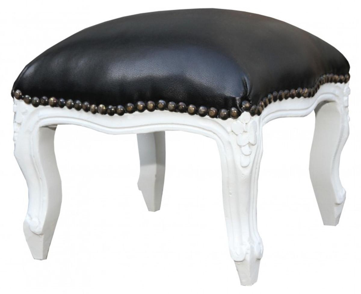 Casa Padrino Barock Fußhocker Schwarz Lederoptik Weiß Antik Stil