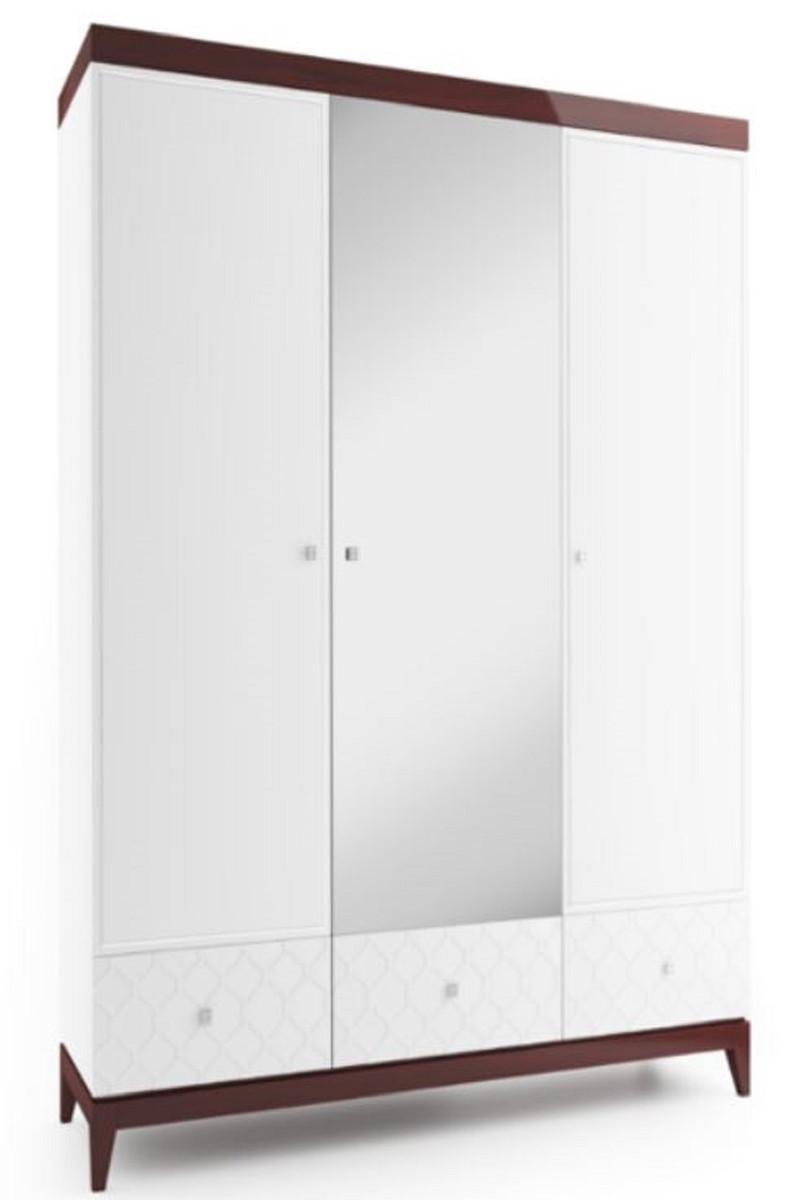 Casa Padrino Luxus Kleiderschrank Weiß Hochglanz Braun 171 4 X 60 X H 205 Cm Massivholz Schlafzimmerschrank Mit Spiegel Schlafzimmermöbel